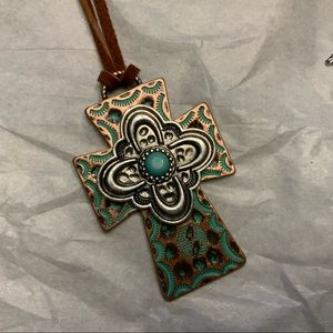 Jewelry - Decorative cross silver -gold -copper tone w/cord